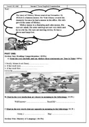 English Worksheet: Mickey Mouse