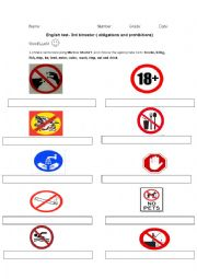 English Worksheet: Obligations and prohibition.