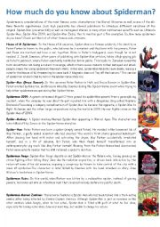 English Worksheet: HOW MUCH DO YOU KNOW ABOUT SPIDERMAN?