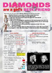 English Worksheet: Marilyn Monroe - Diamonds are a girl´s best friend