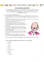 Roald Dahl - short story + giving advice