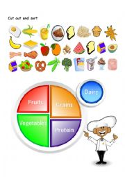 English Worksheet: WHOLE WORKSHEET PACKAGE Cut and sort food groups, reading comprehension, short story