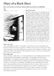 English Worksheet: Diary of a black slave
