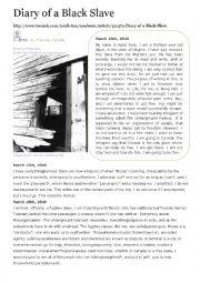 English Worksheet: Diary of a black slave