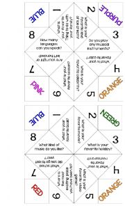 English Worksheet: Getting To Know You Cootie Catcher