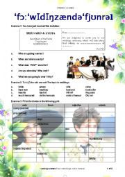English Worksheet: 4 weddings and a funeral - opening scenes