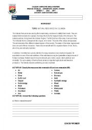 English Worksheet: natural resources in colombia