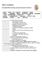 English Worksheet: Music vocabulary