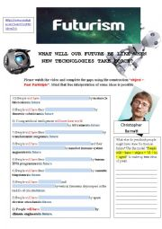 English Worksheet: FUTURISM (TO PRESENT