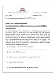 English Worksheet: 7th grade 1st exam