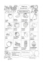 English worksheet: Fruit picture dictionary