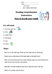 How to Brush Your Teeth (Reading Comprehension)