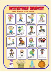 English worksheet: Present Continuous v Present Simple for Young Learners