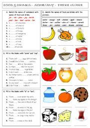 English Worksheet: There is/are - Some - Any - Food & Drinks