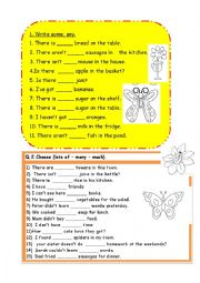 English Worksheet: some,any,lots of ,much ,many