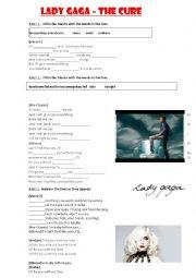 English Worksheet: Lady Gaga - The cure Worksheet