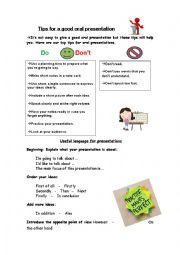 English Worksheet: tips for a good oral presentation