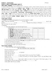 English Worksheet: module 5 lesson 1 means of entertainment part 2 9th form
