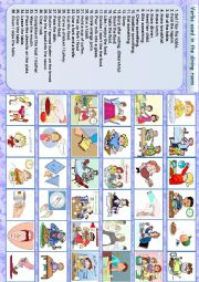 English Worksheet: Verbs used in the dining room