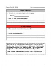 English Worksheet: Career Activity Guide