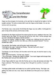 English Worksheet: Reading Comprehension ´Fable´ (The Hippo and The Monkey)