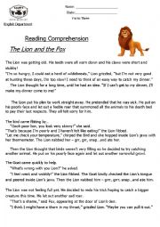 English Worksheet: Reading Comprehension ´Fable´ (The Lion and The Fox)