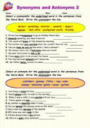 English Worksheet: Synonyms vs Antonyms 2