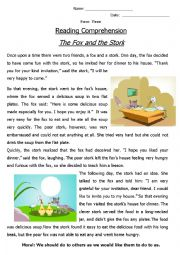 English Worksheet: Reading Comprehension ´Fable´ (The Fox and the Stork)