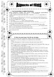 English Worksheet: films and types of films