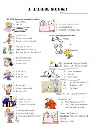 English worksheet: I am (sick)