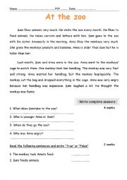 English worksheet: At the zoo, a reading comprehension passage