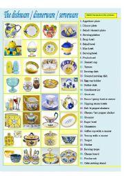 English Worksheet: In the dining room: Dishware & Serveware