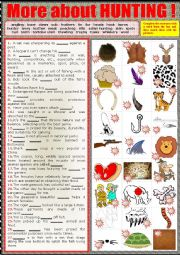English Worksheet: More about hunting.  Matching sentences to pics. + key