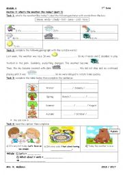 English worksheet: module 4 section 4 what´s the weather like today part 1 7th form