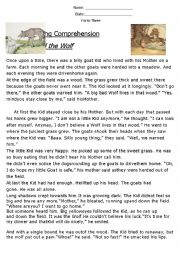 English Worksheet: Reading Comprehension ´The Kid and The Wolf´