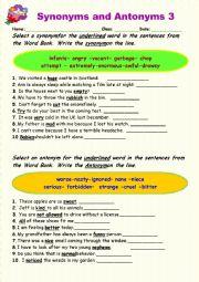English Worksheet: Synonyms vs Antonyms 3