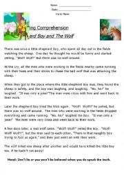 English Worksheet: Reading Comprehension ´Fable´ (The Shepherd and The Wolf)