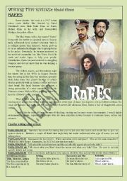 English Worksheet: Film Review: Raees