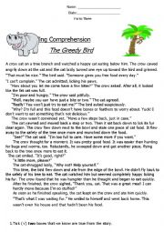 English Worksheet: Reading Comprehension ´Fable´ (The Greedy Bird)