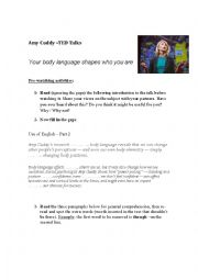 English Worksheet: TED Talks - Amy Cuddy - TED Talk -Body language and personality