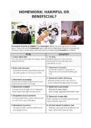 English Worksheet: Homework Debate