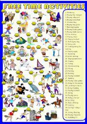 English Worksheet: Free time activities : matching
