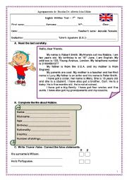 English Worksheet: 7th grade english test