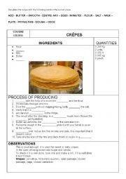 English Worksheet: CREPES RECIPE TO FILL IN with key. COUSINE COURSE