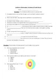 English Worksheet: Landforms, Earthquakes, Volcanoes & Fossils Review
