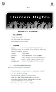 English Worksheet: Listening Human Rights