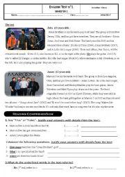 English Worksheet: english test 8th grade students