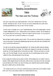 Reading Comprehension ´Fable´ (The Hare and The Tortoise)