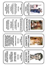 English worksheet: Famous people speaking cards (was,were) part 2