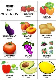 English Worksheet: Fruit and vegetables flashcards